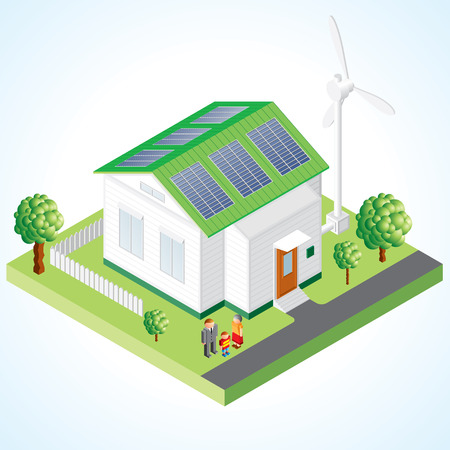 photovoltaic: Green House concept - Isometric composition of small house with ecological equipment - solar cells and wind turbine Illustration