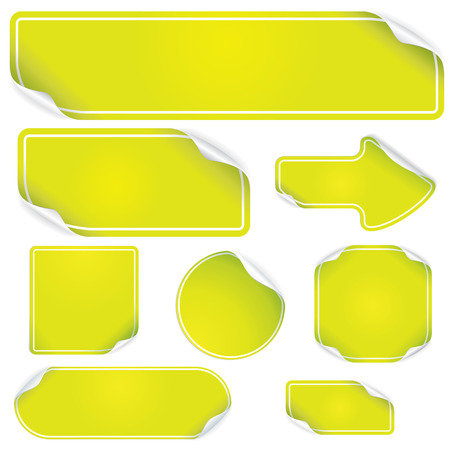 stickers: Empty Green Stickers - set for your text or design Illustration
