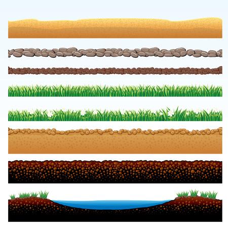 in ground: Confini naturali di erba e terra impostare - fumetto illustrazione di campo in erba, pietra carreggiata, sabbie del deserto, vie acciottolate - oggetti raggruppati