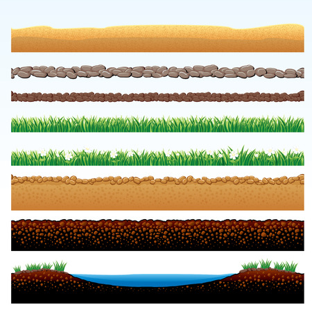 seedling growing: Natural Grass and Ground borders set - cartoon illustration of grass field, stone roadway, desert sands, cobblestone way - objects grouped