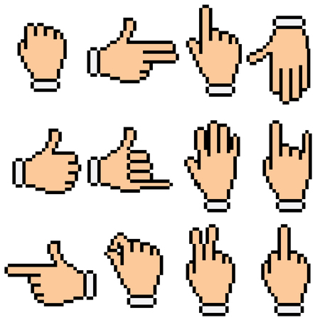 index finger: Pictogram of hands and various gestures Illustration