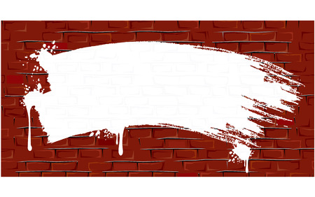 White Paint strokes and splashes on aged Brick wall - Backdrop for your text or design - easy editable color illustration Vector