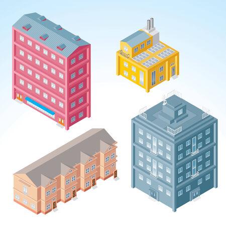 construct: Set van geïsoleerde moderne gebouwen - isometrische illustratie