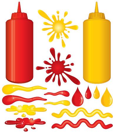 Botellas de salsa de tomate y mostaza amarillo con salsas diseñar elementos aislados en blanco