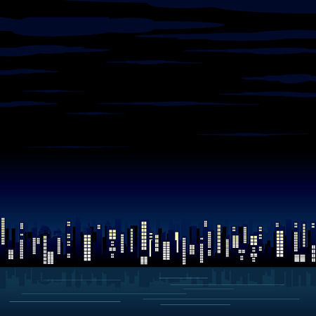 reflection of life: Night view of the abstract city - illustrated background for your text or design