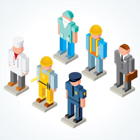 isom�trique: Ic�nes de professions - d�finir des peuples isom�trique avec des uniformes, des v�tements, des couvre-chefs Illustration