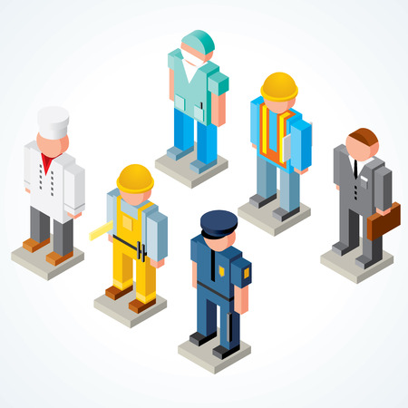 isométrica: Occupations icons - set of Isometric Peoples with various Uniforms, Clothes, Headwears