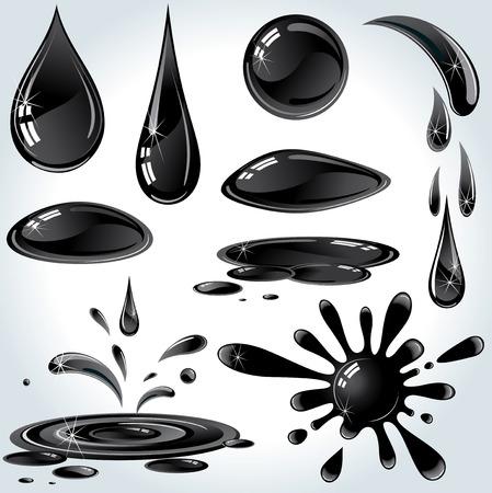 Conjunto de aceite o petróleo gotas