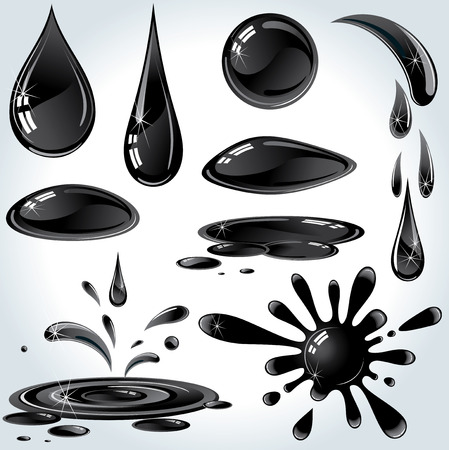 Set of various Oil or Petroleum Drops Stock Vector - 9060650