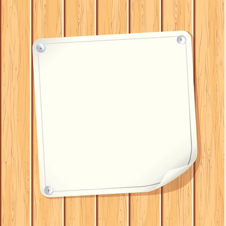 pannello legno: Bianco carta Poster attaccati sul muro di legno - immagine con copyspace pronto per il vostro messaggio di testo o la progettazione Vettoriali