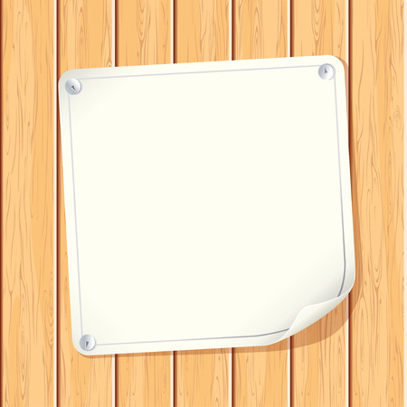 pin board: Blank Paper Poster attached on Wooden Wall - image with copyspace ready for your text message or design