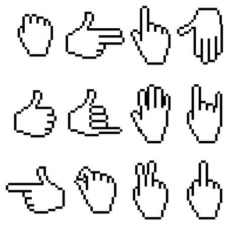 pointing finger pointing: Set of pixel hand icons