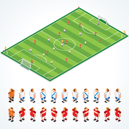 repertoire: Soccer tactical Kit - isometrische illustratie van voetbalveld en abstracte teams, alle elementen gescheiden en gegroepeerd