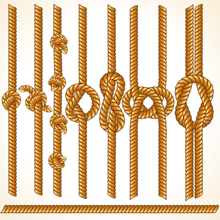 rope knot: Brown Rope borders - seamless elements for your design Illustration