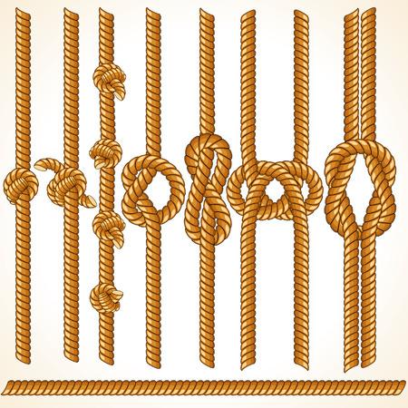 knotting: Confini di corda Brown - elementi senza soluzione di continuit� per il vostro disegno Vettoriali