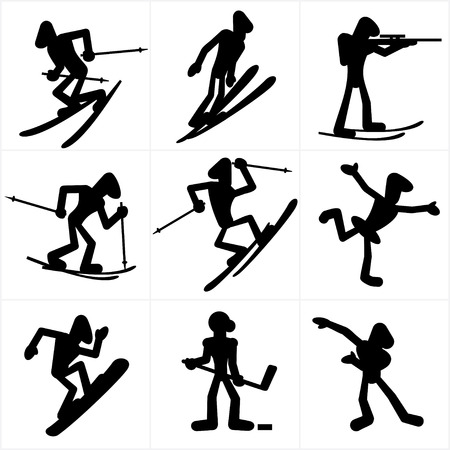 mountain skier: Cartoon silhouettes of winter sport