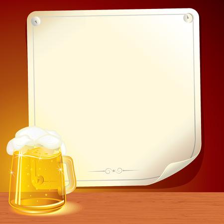 jarra de cerveza: Colorido p�ster de cerveza - fondo ilustrada para texto o dise�o