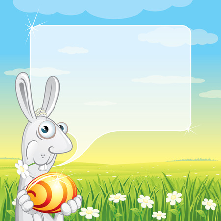 Easter Bunny with Speech Balloon for your text Stock Vector - 9060694