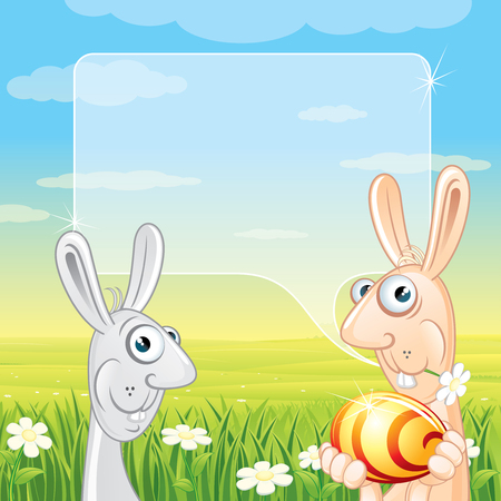 Easter Card with easter bunnies and golden egg Vector