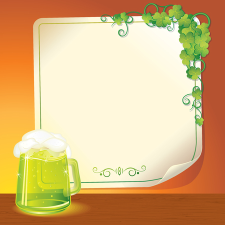 Background with Mug of green Ale and Blank Poster - illustration for Patricks day celebration, ready for your text and design Vector