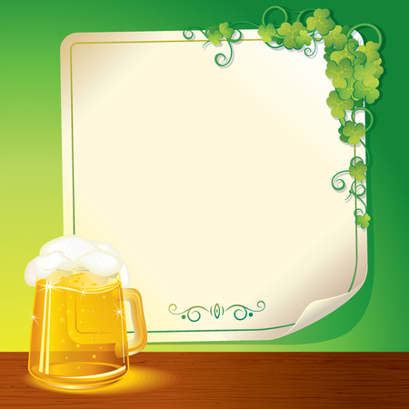 Mug of Beer and Paper Poster, illustration for Patrick's day celebration Stock Vector - 9060698