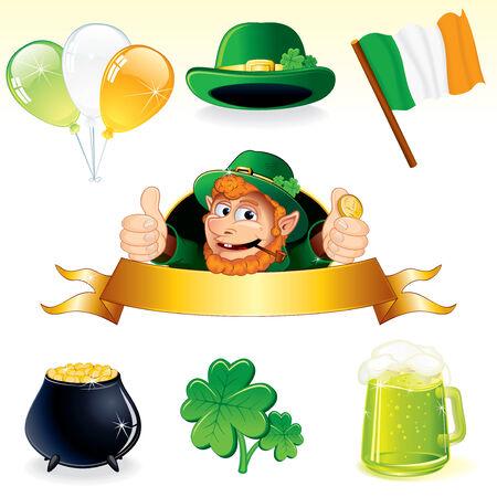 saint patty: Set di icone e simboli per la decorazione di giorno Patrizio - vector dettagliate illustrazioni leprechaun banner, trifoglio, calderone, bandiera irlandese, palloncini, cappello verde e pinta di birra