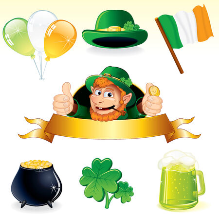 ale: Set of icons and symbols for Patricks Day decoration - detailed vector illustrations leprechaun banner, clover, cauldron, irish flag, balloons, green hat and pint of ale