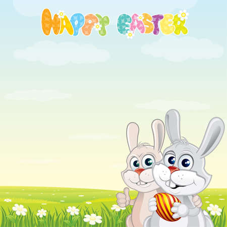 Cute Easter Bunnies with painting egg Vector