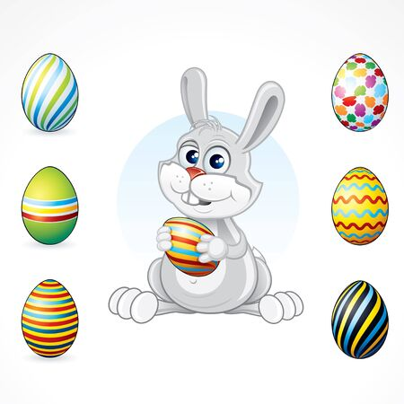 Cute Easter Bunny with painting eggs collection - editable vector illustration for Easter card decor Vector