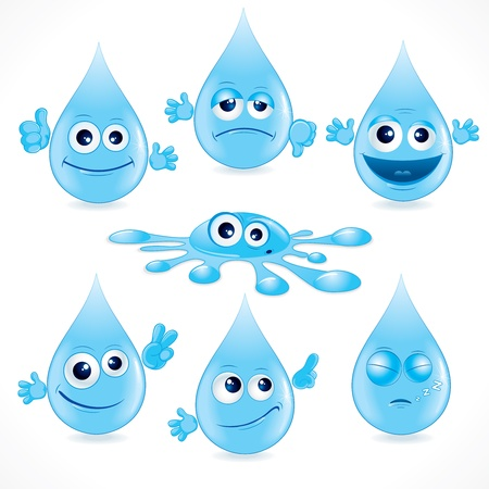 Funny Cartoon Water Drops - vector illustration