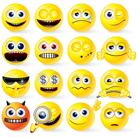 Große Anzahl von isolierten gelb Cartoon Smileys mit positiven und negativen Emotionen, Gesten, Posen - detaillierte Vektor-Illustration für Ihren Entwurf Vektorgrafik