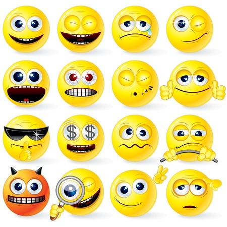 Grote verzameling van geïsoleerde gele Cartoon Smileys met positieve en negatieve emoties, gebaren, houdingen - gedetailleerde vectorillustratie voor uw ontwerp Vector Illustratie