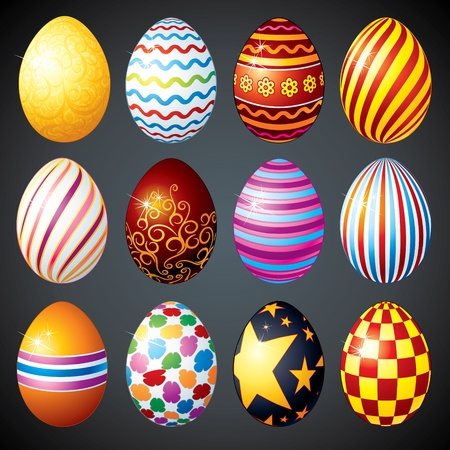 Big set of painted vector Easter Eggs designed for Easter Day Decoration Vector