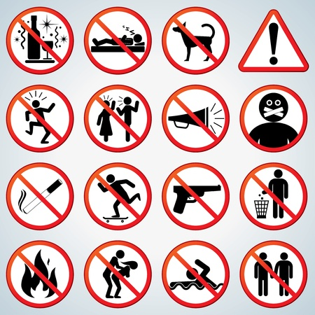 Prohibited and Alerting Signs vector collection for your design and text Stock Vector - 9151343