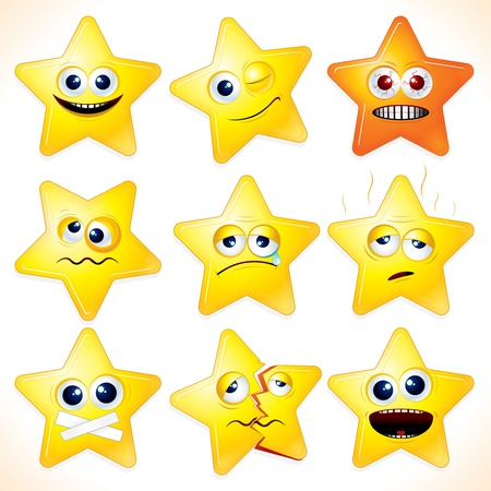 falling star: Smiley cartoon stars - clip art with various facial expressions and emotions.