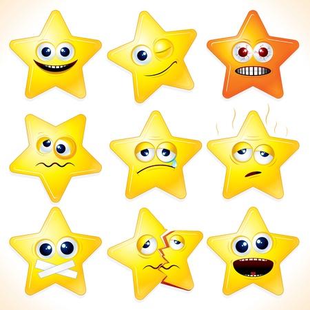 wenen: Smiley cartoon stars - illustraties met verschillende gezichtsuitdrukkingen en emoties.