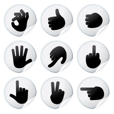 Stickers with Human Hand Signs - vector isolated design elements