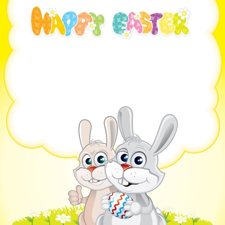 Colorful Easter Card with Happy Bunnies, vector illustration ready for your greeting text Stock Vector - 9151350