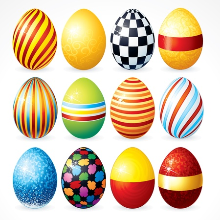 eggs in basket: Isolated Easter eggs, Happy Easter vector Clip Art for your design