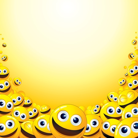 laugh emoticon: Background with heap of Yellow Smileys - template for your fun text or design