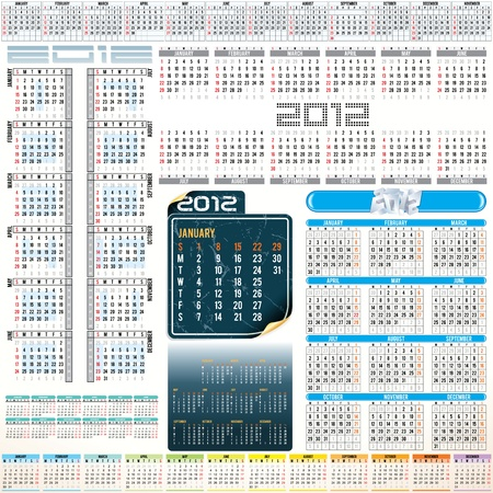 Calendar grids for next year - vertical and horizotal, week starting from Sunday and Monday. Vector