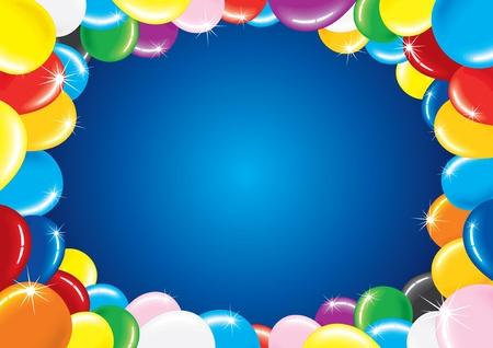 marco cumplea�os: Fondo de vector horizontal festivo con marco colorido globo para su cumplea�os saludo texto