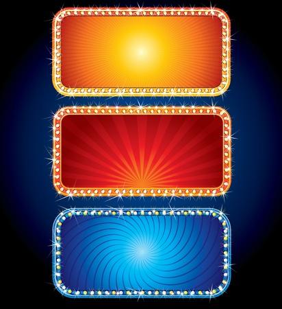 iluminados: Brillante signos de neón de Vector - publicidad brillantes antecedentes para texto o diseño