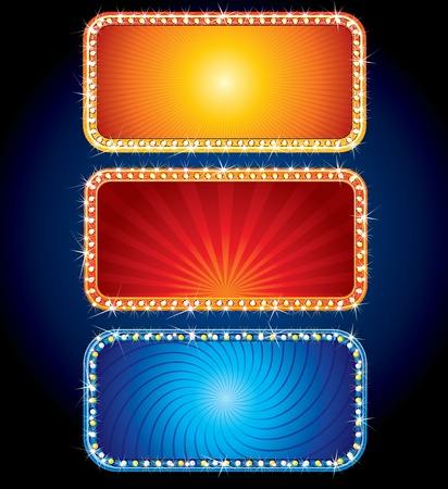 theater marquee: Glowing Vector Neon Signs - advertising brightly backgrounds for your text or design