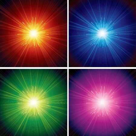 Abstract Starburst - set of vector backgrounds Illustration