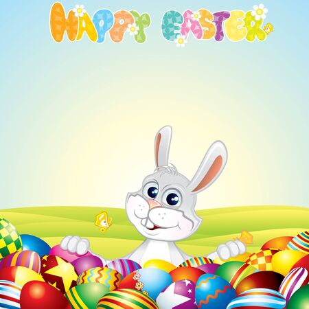 Easter Background with Bunny and painting eggs - vector illustration Stock Vector - 9569671