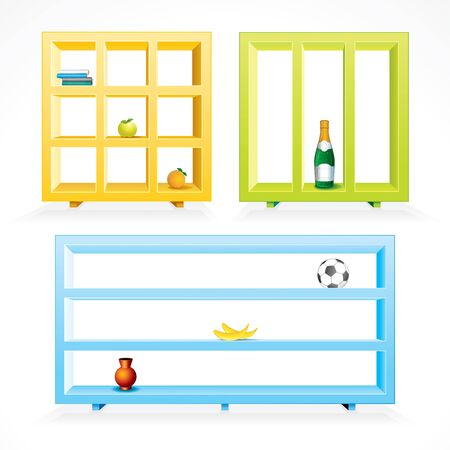 bar interior: Set of various colored shelves for showing your own items