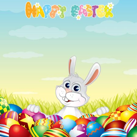 Easter Background with Bunny and painting eggs - vector illustration Stock Vector - 9569680