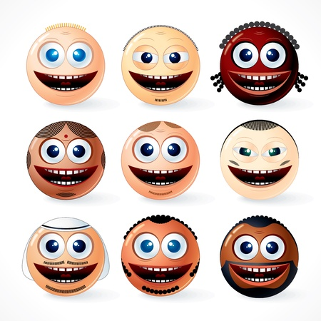 Illustration of multi ethnic Faces, Smileys - set of vector friendly cartoon emoticons of world community Stock Vector - 9569663