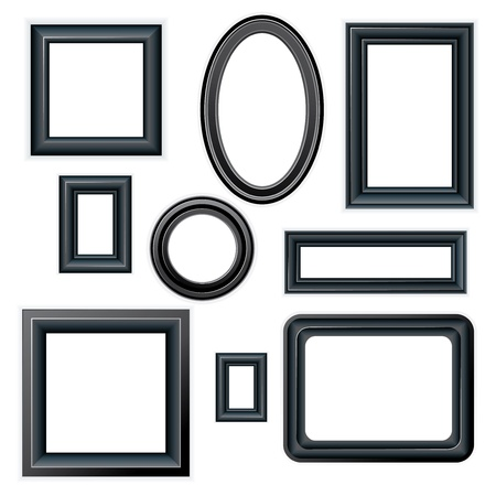 rounded squares: Set of classic beveled black picture frames isolated on white background Illustration